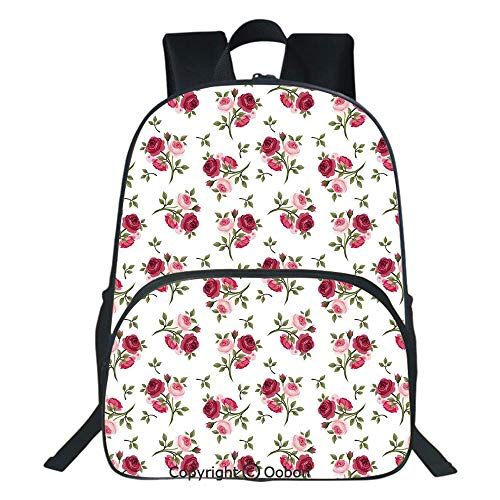 Oobon Kids Toddler School Waterproof 3D Cartoon Backpack, Pattern with Rose Stems Flowers Garden Classic English Style Design Repeat Art Decorative, Fits 14 Inch Laptop