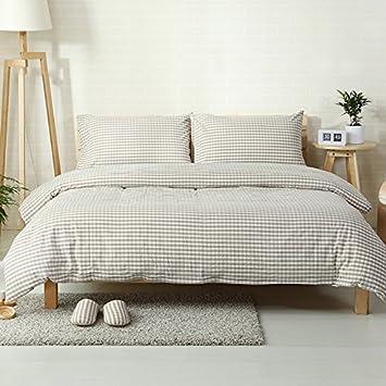 4 piezas 100% lavar algodón Muji estilo Plaid Cama Cover Set: Amazon.es: Hogar