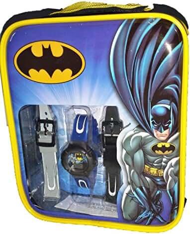 Batman Kid's Blue Watch w/ Interchangeable Bands in a Backpack BAT3084
