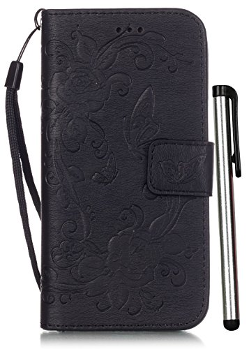 iPhone 6S Plus Wallet Case Leather 5.5 inch 6 Plus Luxury Black Full Body Magnet Cell Phone Book Cover with Stand 3 Credit Card Holders Cash Slot Wrist Strap Handmade Embossed Butterfly Flower Design