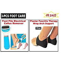 3pc Foot Care- 2pc Plantar Fasciitis Arch Sleeve +1pc Electric Callus Remover