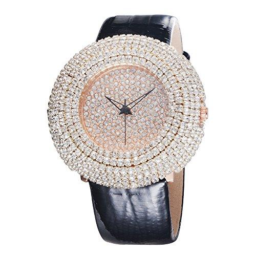 Black Jeweled Ladys Watch - Modern Elegant Distinctive Fully-jewelled Ladies Womens Wrist Watches Gift Black