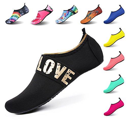 Womens And Mens Water Shoes Barefoot Quick Dry Aqua Socks For Beach Swim Surf Yoga Exercise  Xxl  Us Women 13 14 Men 10 5 11   Gold Love Black