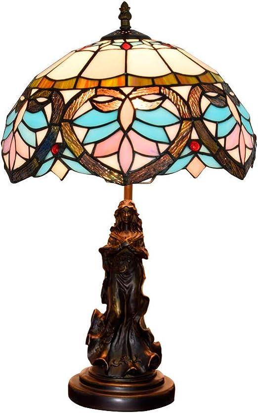 Wj Lámpara de Mesa Tiffany Lámpara de mesita de Noche de corazón ...
