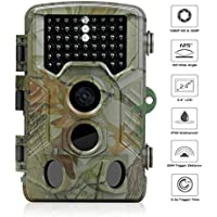 Trail Camera 1080P FHD Hunting Game Camera 12MP Surveillance Camera with Infrared Night Vision 2.4 inch LCD Screen,125°Angle,46pcs IR LEDs Waterproof Wildlife Camera (H1)