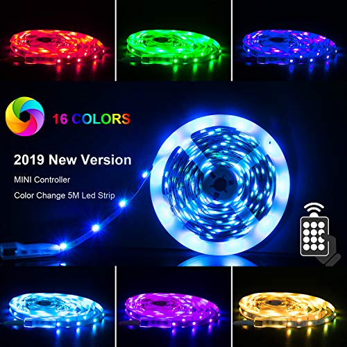 PANGTON VILLA LED Strip 16.4ft RGB 5050LEDs Color Changing Full Kit with 24key Remote Control and Power Supply Mood Lighting for Home Kitchen Christmas Indoor Decoration
