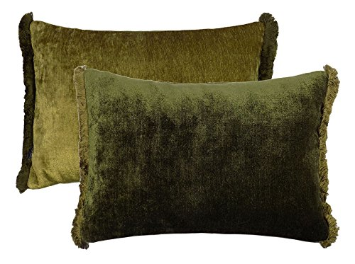 FILLED TWO TONE REVERSIBLE CHENILLE FRINGED GREEN 35X50 BOUDOIR CUSHION PILLOW CASE SHAM ()