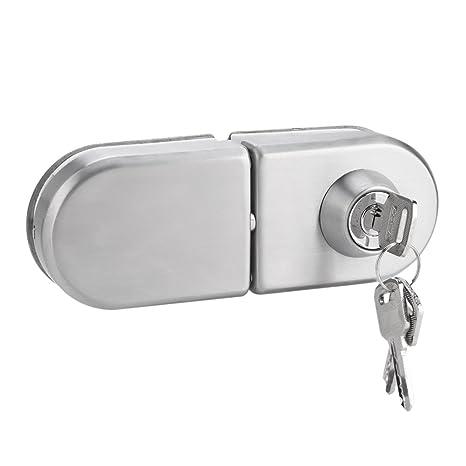 Garsent Cerradura de Puerta de 10~12 mm, Cerradura de Seguridad de un Solo Cilindro, Cerradura de Puerta de Cristal de Acero Inoxidable con Llaves ...