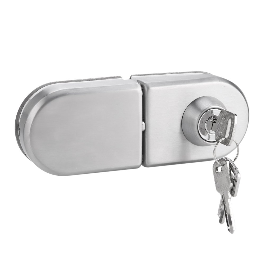 Zerodis 10~12mm Stainless Steel Glass Door Anti-theft Security Lock with Keys Open/Close Home Hotel Office Bathroom Use