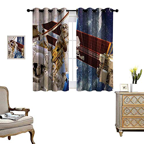 homehot Outer Space Thermal Insulating Blackout Curtain International Station Scenery Science Deep Dark Matter Search on Earth Design Patterned Drape for Glass Door Multicolor