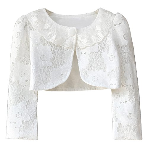Ourlove Fashion Girls' Long Sleeve Open Front Lace Bolero Shrug Cardigan Top (White, 6-7 Years) by Ourlove Fashion (Image #7)