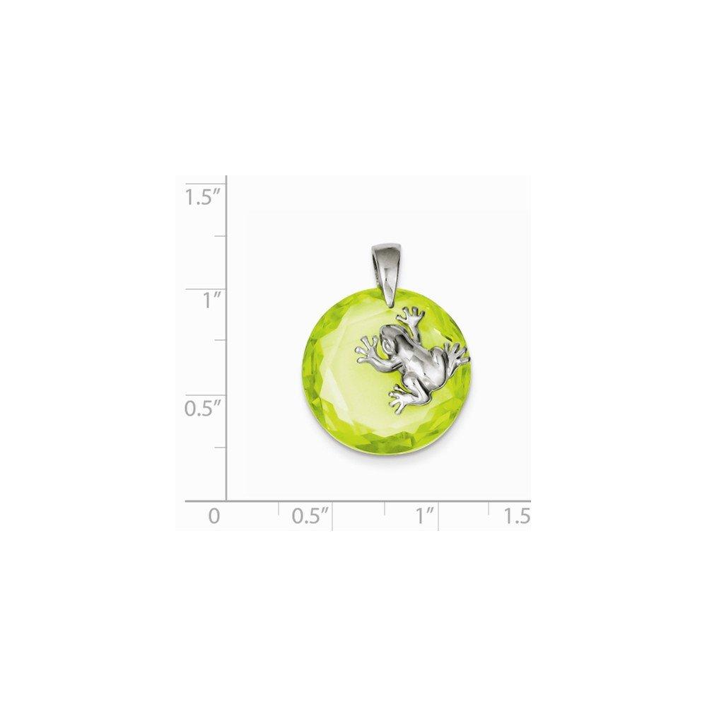 20mm x 26mm Jewel Tie 925 Sterling Silver Green CZ Cubic Zirconia Frog Pendant
