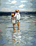 [WOODEN FRAMED] Diy oil painting, paint by number kit- See the Sea 1620 inch. by digital oil painting