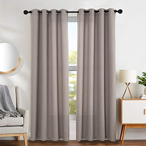 Linen Textured Curtains 84 inch Length Curtain Panels Living Room Bedroom Window Teatments 2 Panels Tan