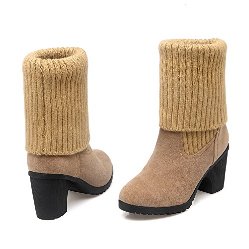 AllhqFashion Womens Pull-on High-Heels Imitated Suede Solid Low-top Boots Apricot 6XdvxZ