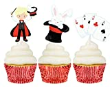 Magician themed cupcake topper picks 12 ct - Boy birthday party decorations and supplies - Handmade in the USA