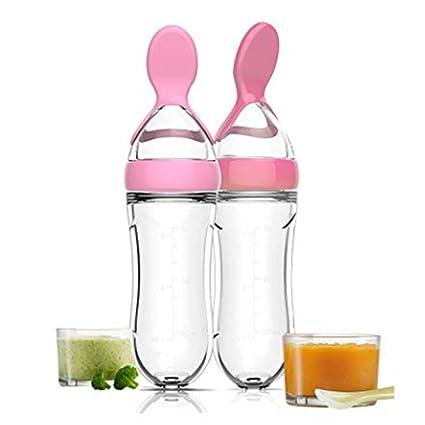 Botella de alimentación de silicona apriete arroz cereales alimento cuchara bebé, dispensador de alimentos,