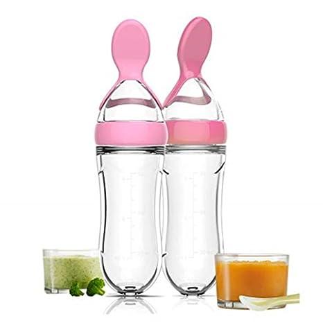 Botella de alimentación de silicona apriete arroz cereales alimento cuchara bebé, dispensador de alimentos, cuchara de alimentación para recién ...