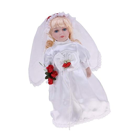 Puppenstuben & -häuser 30cm schöne Porzellan Mädchen Puppe Menschen Action Figur mit Beige Kleid