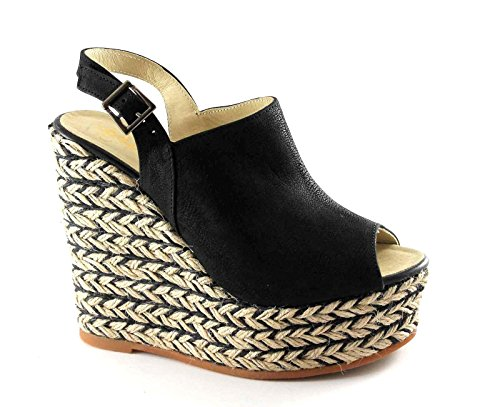 Espadrilles Nuno.hor Black Black Sandals Women Leather Wedge Rope Buckle Nero