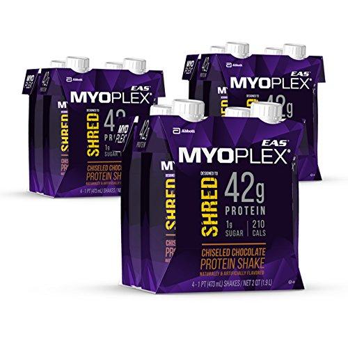 EAS Myoplex Shred Protein Shake, 42 Grams of Protein, Chiseled Chocolate, 16 ounces, 12 - Whey Protein Myoplex