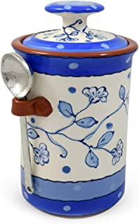 product image for American Handmade Terra Cotta Pottery Kitchen Canister with Pewter Spoon Scoop, Wildflower Blue Motif