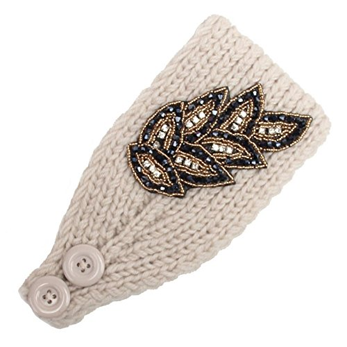 TONSEE Women Fashion Knit Headband - Leaves Pattern (Beige) (Leaf Knitting Pattern)