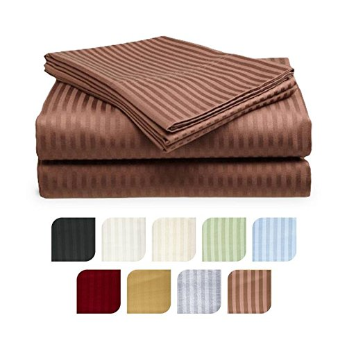 Crystal Trading 4-Piece Bed Sheet Set - Dobby Stripe - Microfiber - (Queen, Coffee)