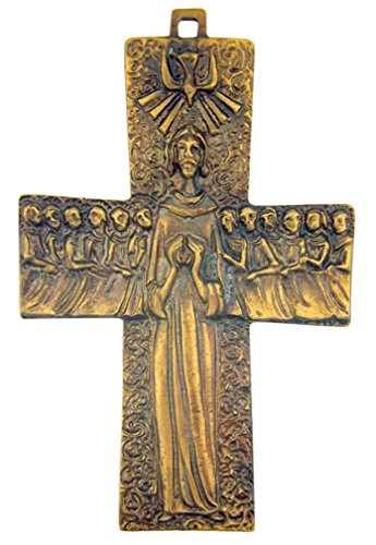 Jesus Christ Crucifix 4 1/8 Inch Bronze Tone Appostles Cross for Clergy (Cross Vestment)