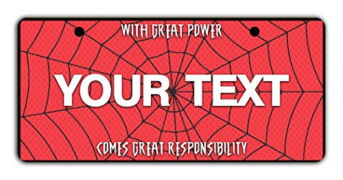 BleuReign(TM Personalized Custom Name Superhero Series: with Great Power Comes Great Responsibility Spider Web License Plate Bicycle Bike Moped Golf Cart 3