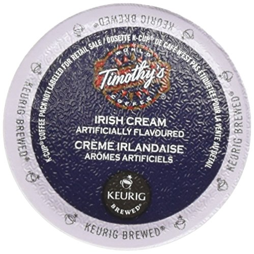 Timothy's World Coffee, Irish Cream,  K-Cup Portion Pack for Keurig K-Cup Brewers, 24-Count (Pack of 2) (Cream Smooth Coffee)