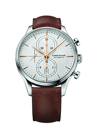 Louis Erard Men's Heritage Collection Silver Dial Chrono 78289AA31 Watch Brown Veal Leather strap