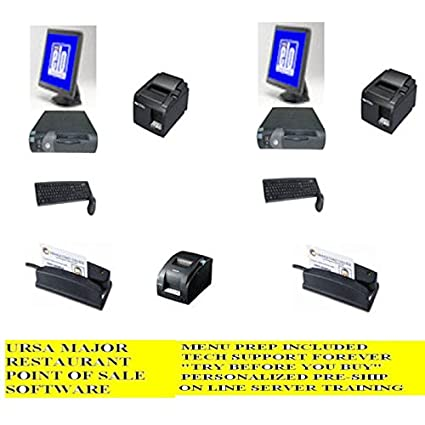 2 Station Terminal Restaurant point of sale POS System w/ FREE Menu  Install, 3 Year Warranty and Lifetime Tech Support --- No Extra or Monthly  Charges