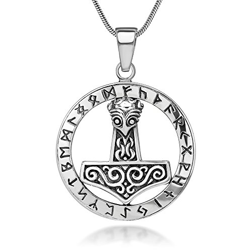 Chuvora 925 Sterling Silver The Hammer of Thor Mjölnir Viking Symbol Pendant Necklace, 18 inches ()