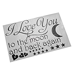 Soledi® Black Vinyl Wall Decal I Love You to the Moon and Back Again Wall Sticker Letters Words Baby Kids Room Bedroom Art Wall Decor