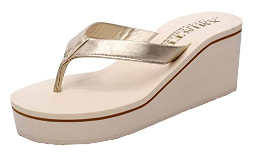 0a7760a0ce6 SHOWHOW Women s Trendy Thong Sandals Slide On Sea Mid Wedge Heel Platform  Flip-Flops Shoes