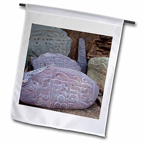 Danita Delimont - Ellen Clark - Religion - India, Jammu and Kashmir, Ladakh, road prayer stones. - 18 x 27 inch Garden Flag (fl_188086_2) (Kashmir Stone)
