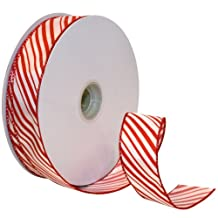 Morex Ribbon Peppermint Stripe Wired Ribbon, 1-1/2-Inch Wide by 50-Yard Spool, Red/White