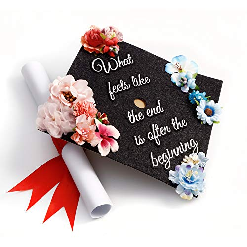 GradWYSE Handmade Graduation Cap Topper Graduation Gifts Graduation Cap Decorations, What Feels Like The End is Often The Beginning Black -