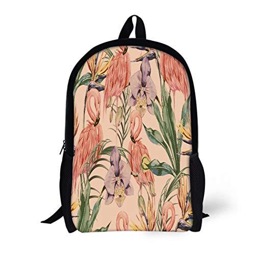 Pinbeam Backpack Travel Daypack Tropical Flowers Palm Leaves Jungle Plants Orchid Bird Waterproof School Bag