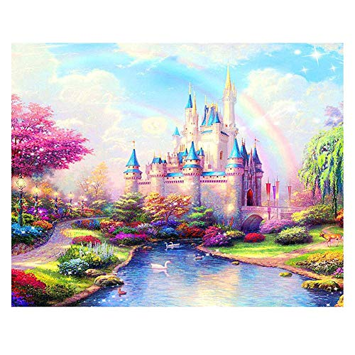 Katosca DIY Paint by Numbers for Adults Kids Paint by Numbers Castle DIY Painting Acrylic Paint by Numbers Painting Kit Home Wall Living Room Bedroom Decoration Rainbow Castle