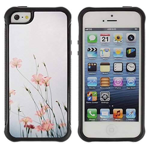 All-Round Hybrid Rubber Case Hard Cover Protective Accessory Compatible with Apple iPhone 5 & 5S - nature flower sky field summer