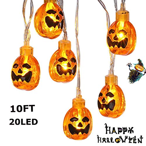 MKROYO 20LED Halloween String Lights, 10ft Battery Powered Pumpkin String Lights with Steady/Flash Modes for Halloween Indoor Outdoor Decorations, Warm White