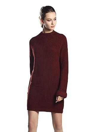 32c2c825c Zhiyuanan Femme Automne Hiver Oversize Mi Long Pull Robe en Maillees ...