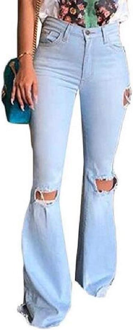 WAWAYA Womens Plus Size Ripped Distressed Roll up High Waist Skinny Jeans Denim Pants