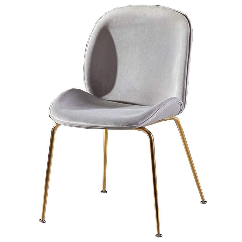 Dall Dining Chairs Upholstered Gold Metal Legs Backrest Table Chair Fashion Leisure Makeup Chair Restaurant Coffee Shop Assembly (Color : Gray 1) by DALL Chairs Stools
