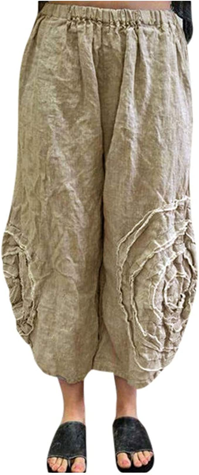 cinnamou Pantalones Mujer, Casual Pantalones Lino Ancho Sueltos ...