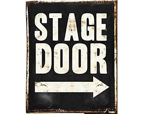 Janet Carmen Stylish Vintage Stage Door Arrow Customizable - Metal TIN Sign Wall Plaque - Customizable Vintage Sign