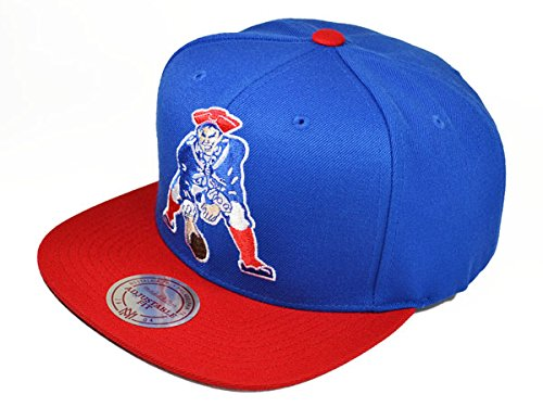 Vintage Logo Flat (NFL Mitchell & Ness New England Patriots Throwback XL Logo 2T Snapback Hat - Royal Blue/Red)
