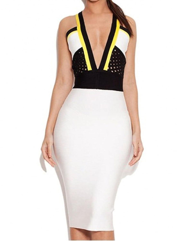 Whoinshop Damen sexy V-Ausschnitt Bodycon Verband-Kleid-Verein-Partei-Wear
